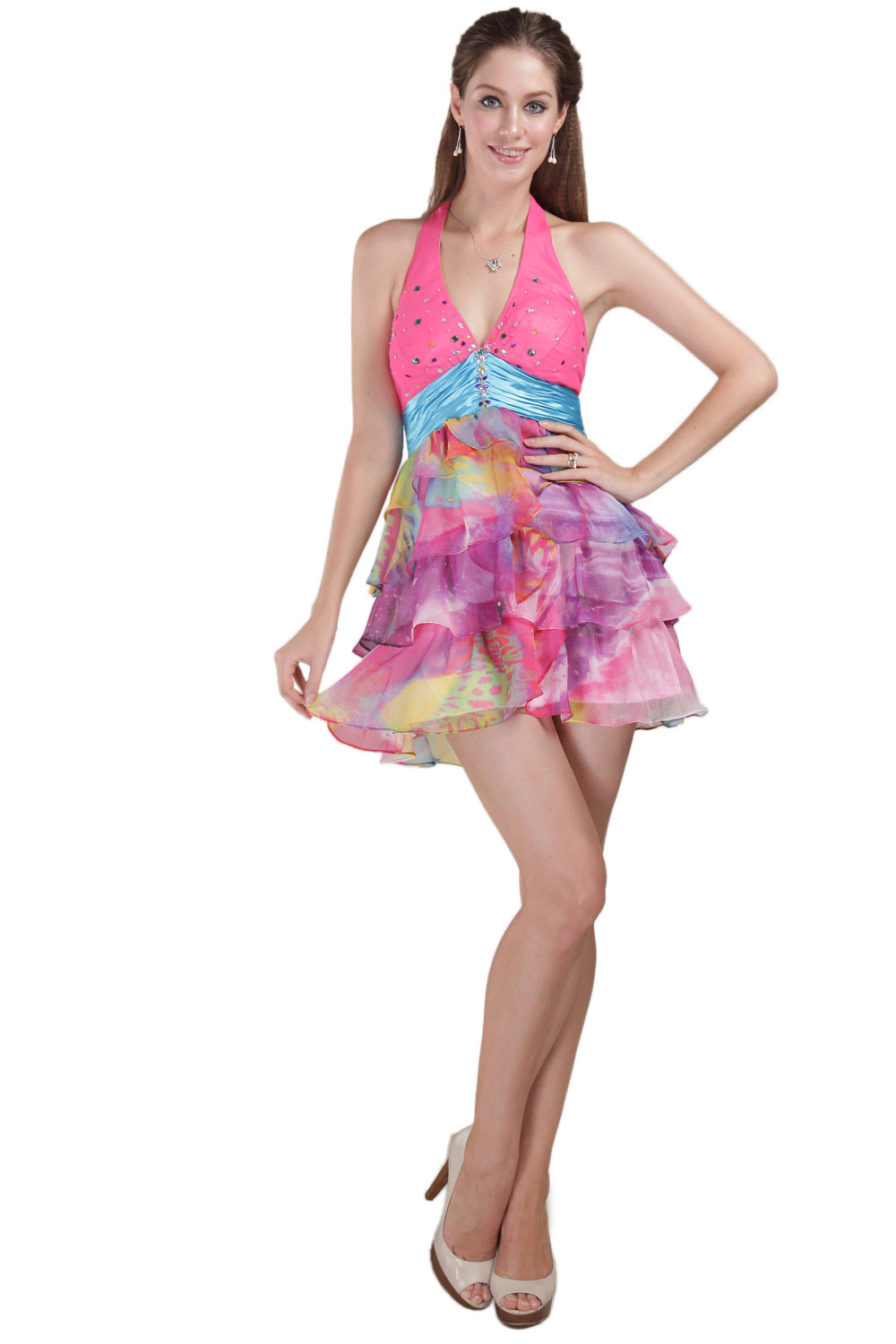 Sheath/Column Bateau Short/Mini Chiffon Prom Dress