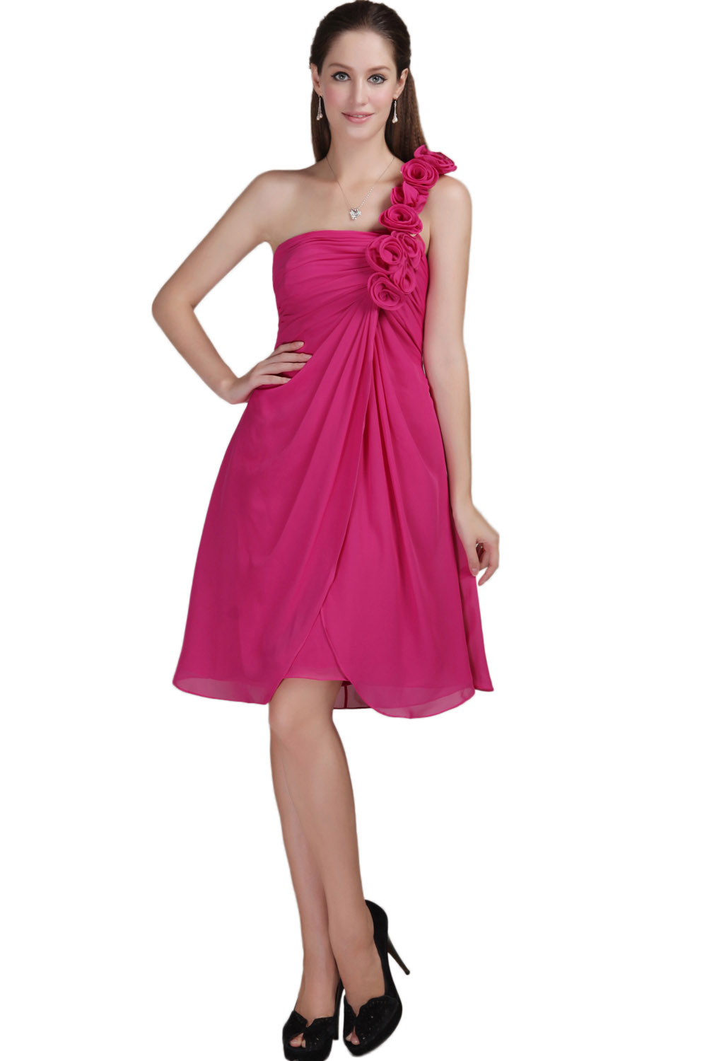 Sheath/Column One Shoulder Knee-length Taffeta Cocktail Dress