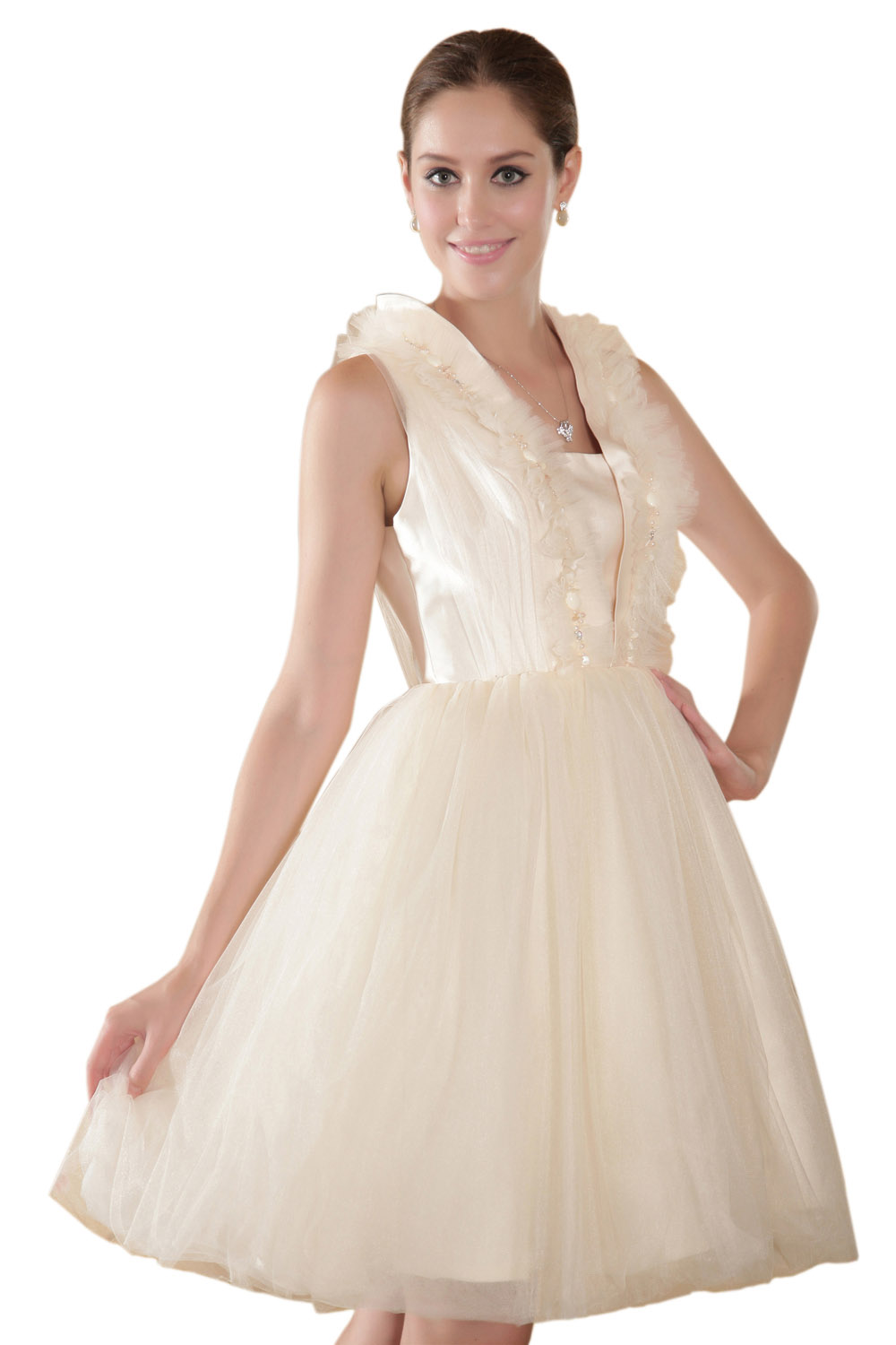 A-line Strapless Asymmetrical Organza Prom Dress