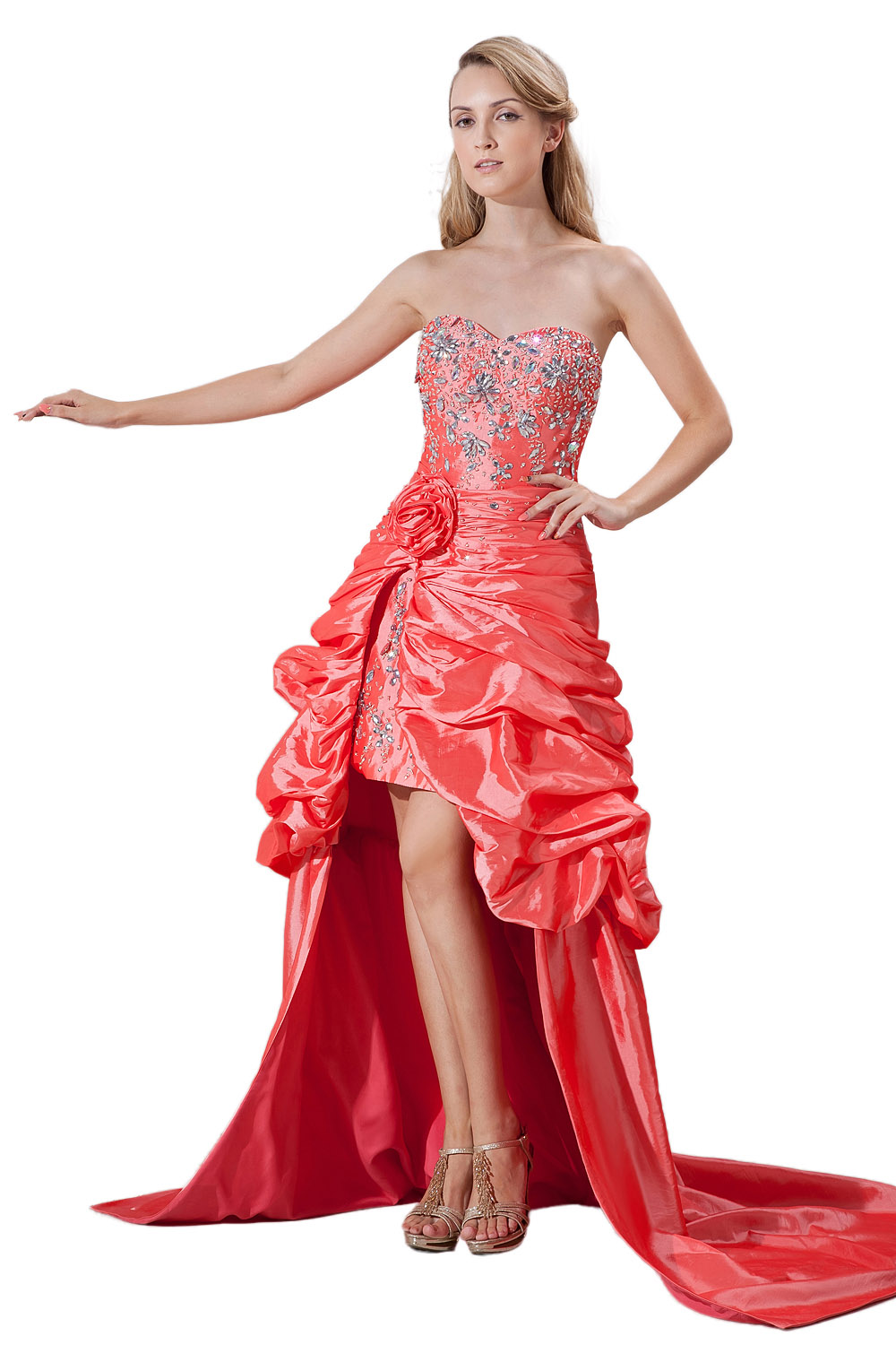 Princess Sweetheart Knee-length Taffeta Evening Dress