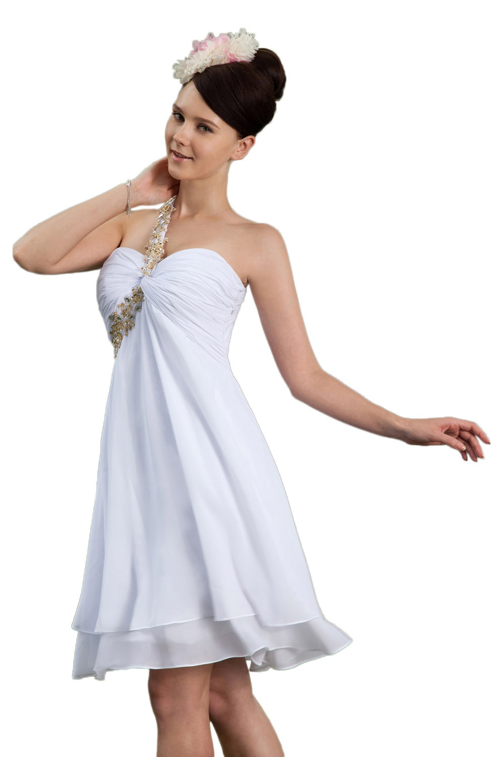 A-line Princess Halter Knee-length Chiffon Prom Dress