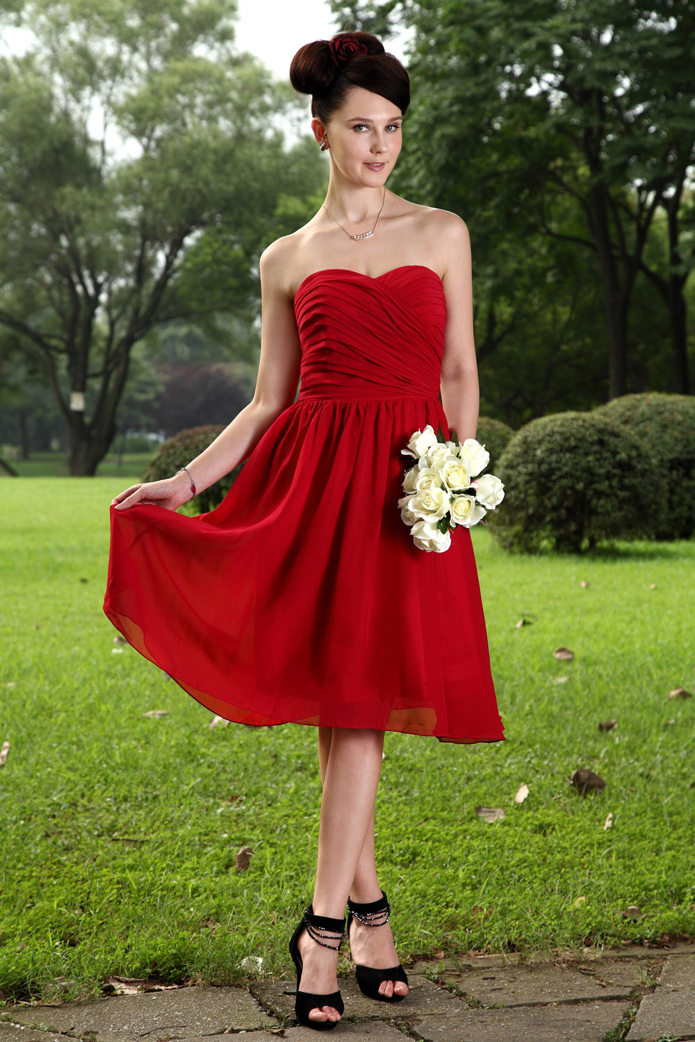 Princess Sweetheart Knee-length Taffeta Tulle Graduation Dress