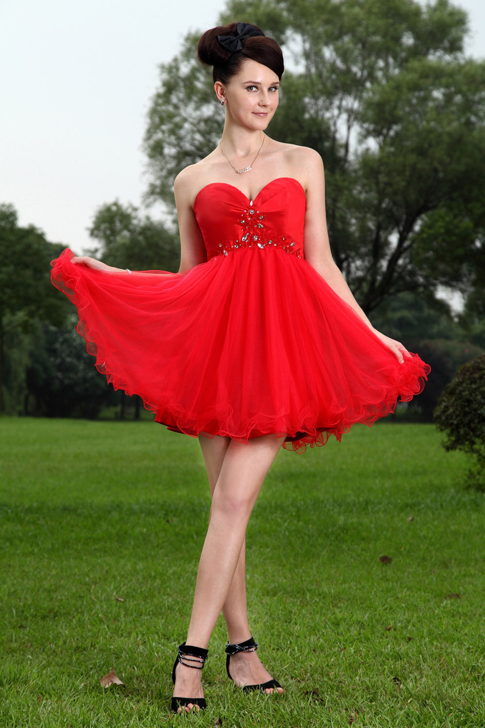 Princess Sweetheart Knee-length Tulle Homecoming Dress