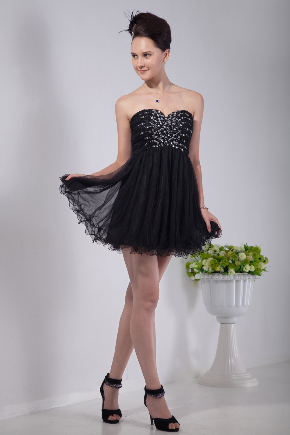 Sheath/Column Sweetheart Short/Mini Chiffon Homecoming Dress