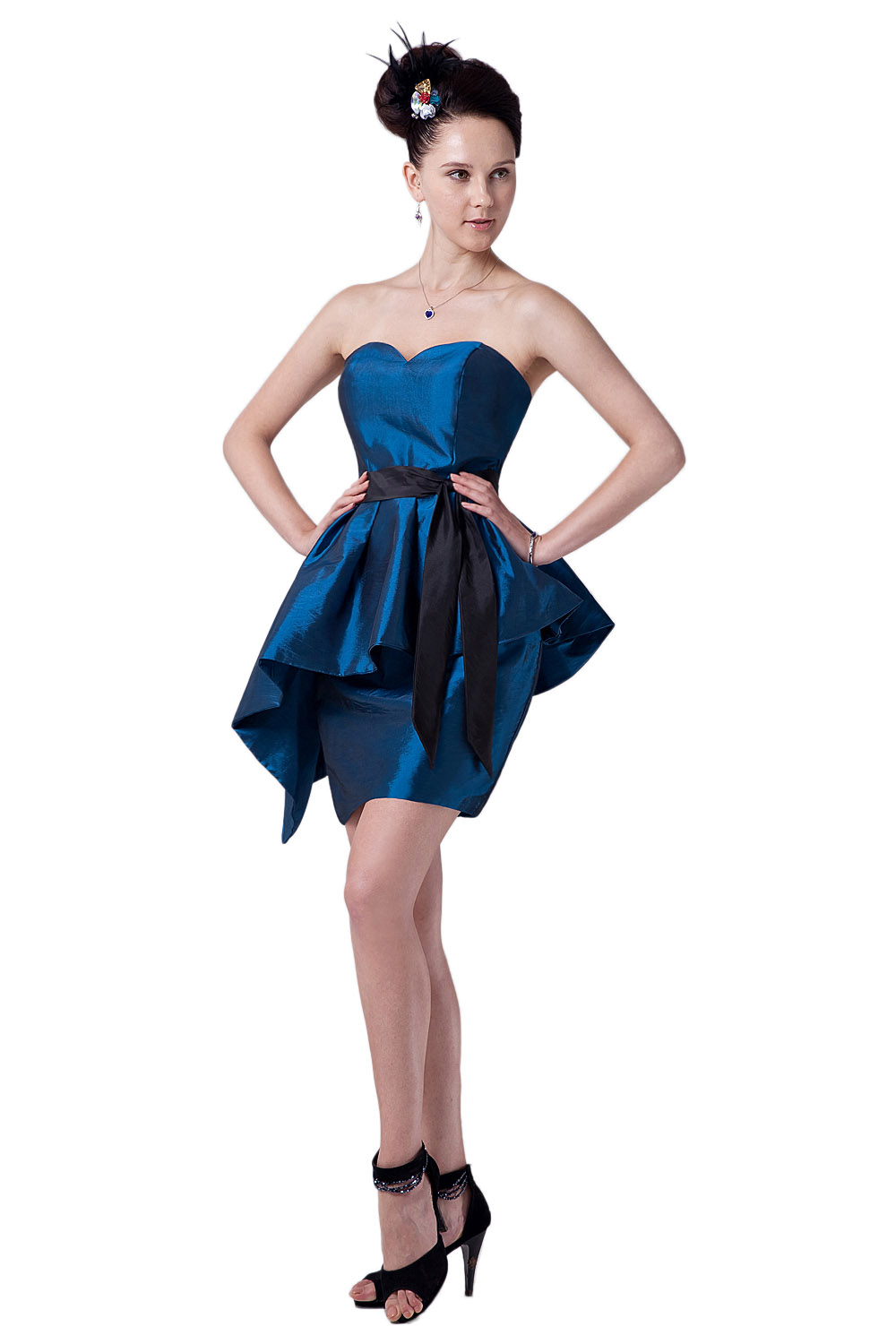 A-line Halter Knee-length Taffeta Homecoming Dress