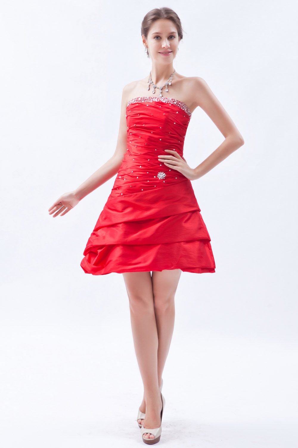 A-line Spaghetti Straps Tea-length Organza Homecoming Dress