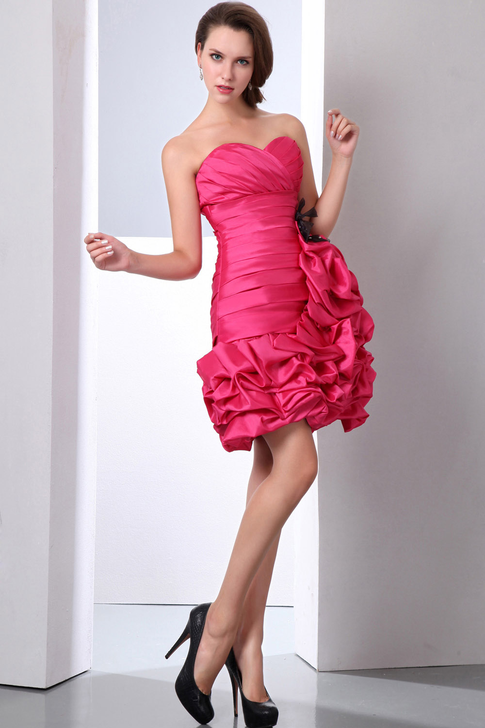 A-line Sweetheart Asymmetrical Organza Cocktail Dress