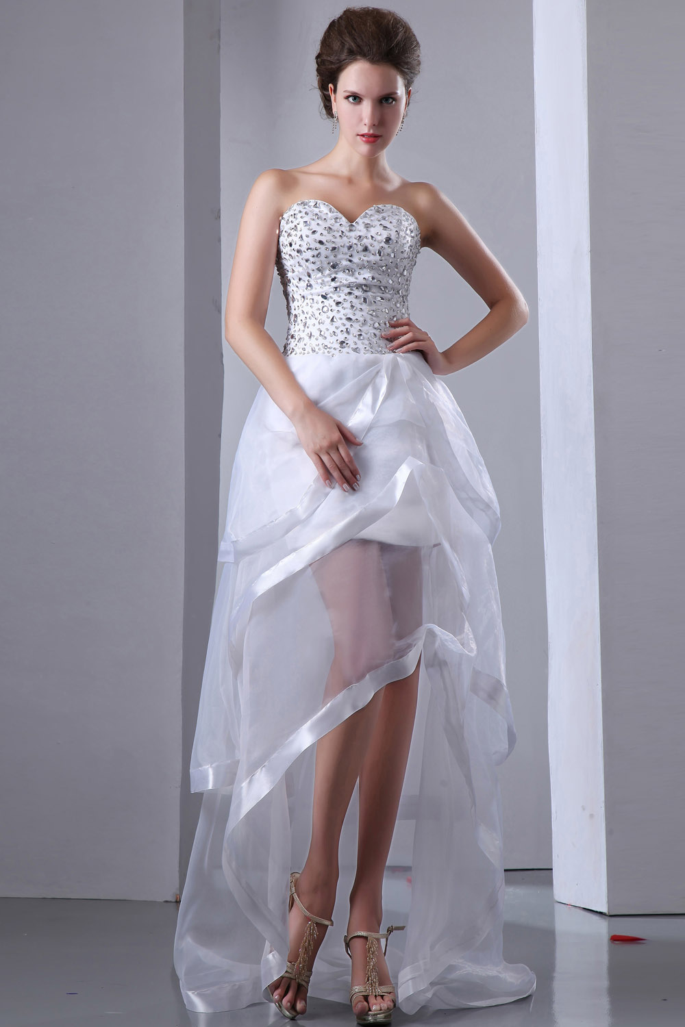 A-line Strapless Knee-length Organza Holiday Dress