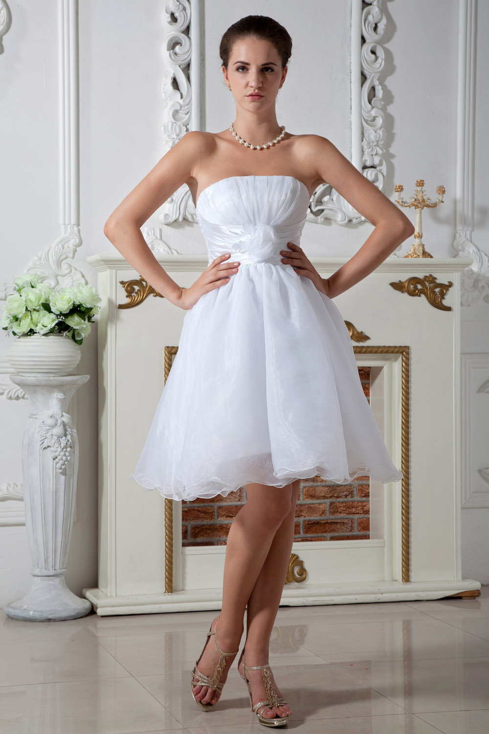 A-line Strapless Tea-length Lace Holiday Dress