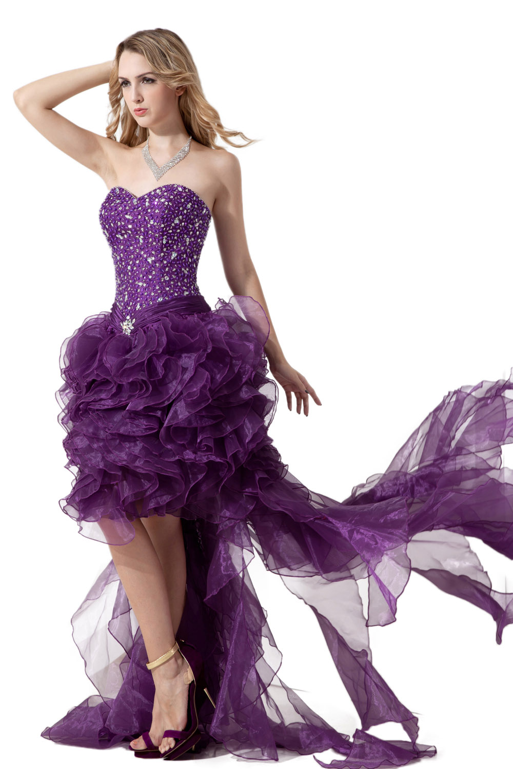 Princess Strapless Knee-length Taffeta Tulle Cocktail Dress