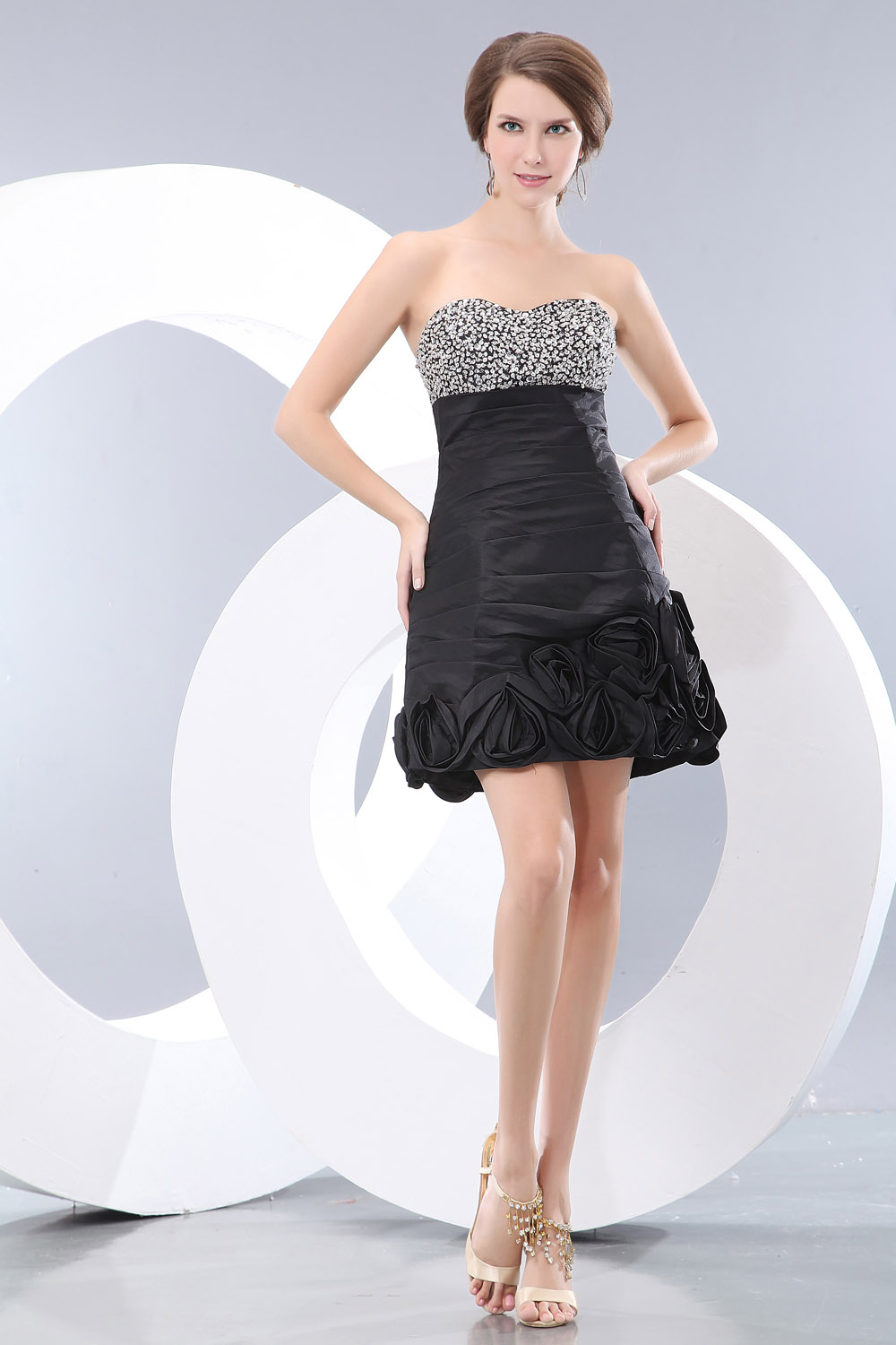 A-line One Shoulder Tea-length Taffeta Homecoming Dress