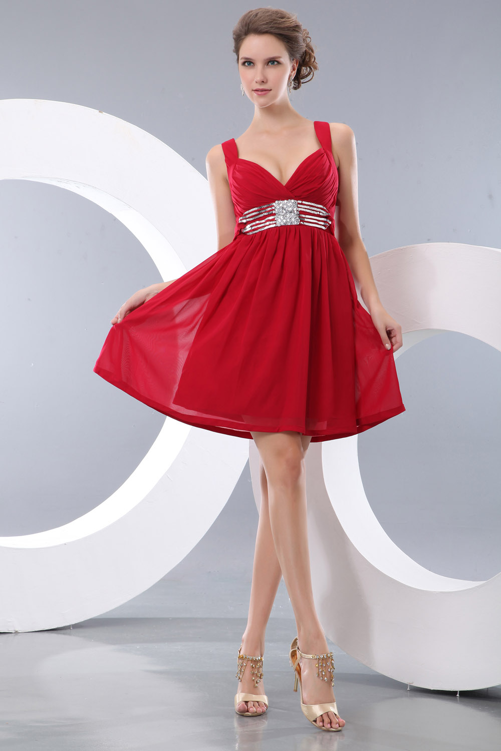 A-line Halter Tea-length Taffeta Homecoming Dress