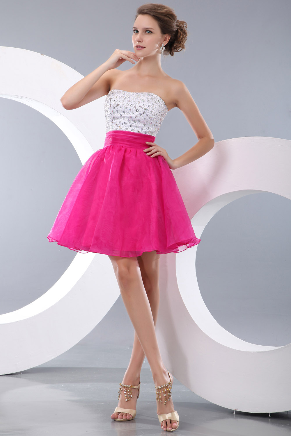 Princess One Shoulder Knee-length Tulle Graduation Dress