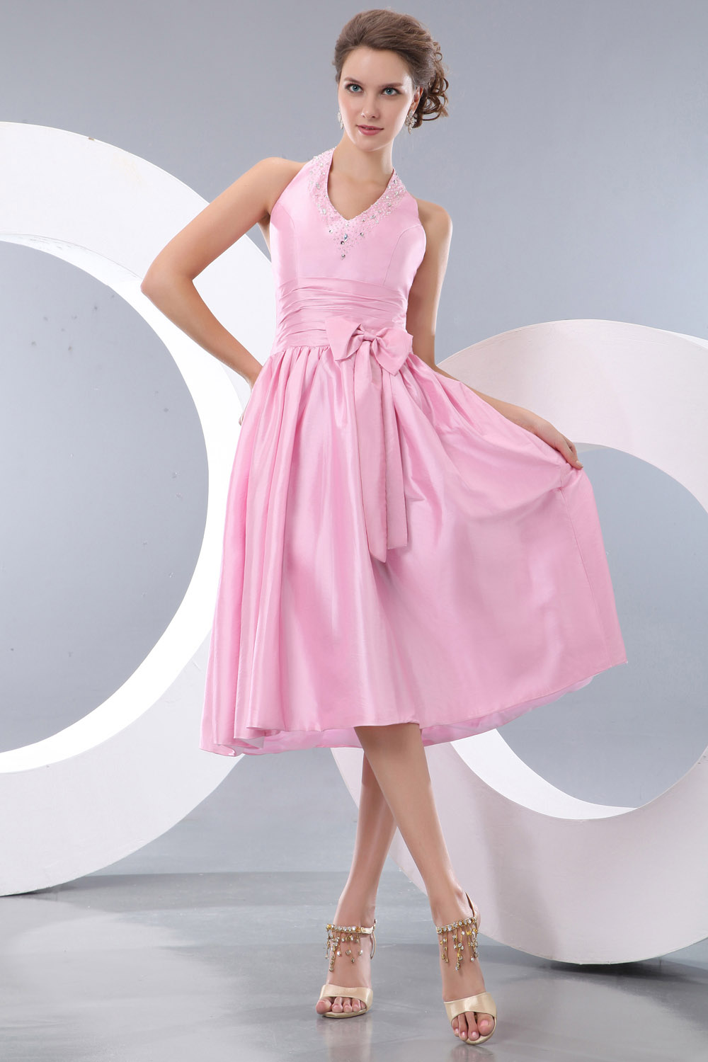 A-line Sweetheart Sweep/Brush Train Chiffon Graduation Dress