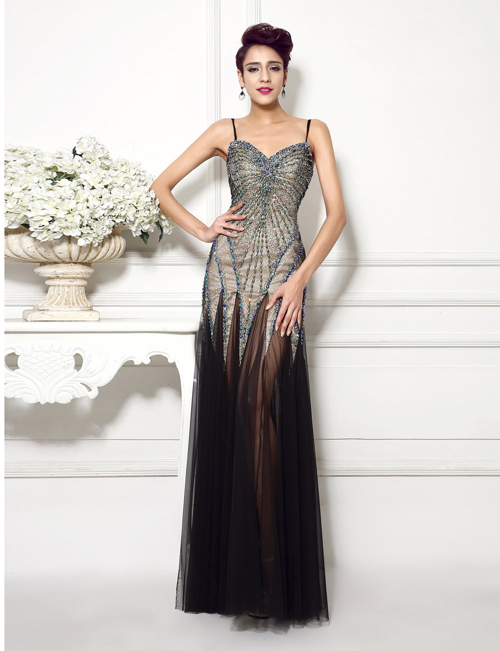 A-line Bateau Floor-length Chiffon Evening Dress