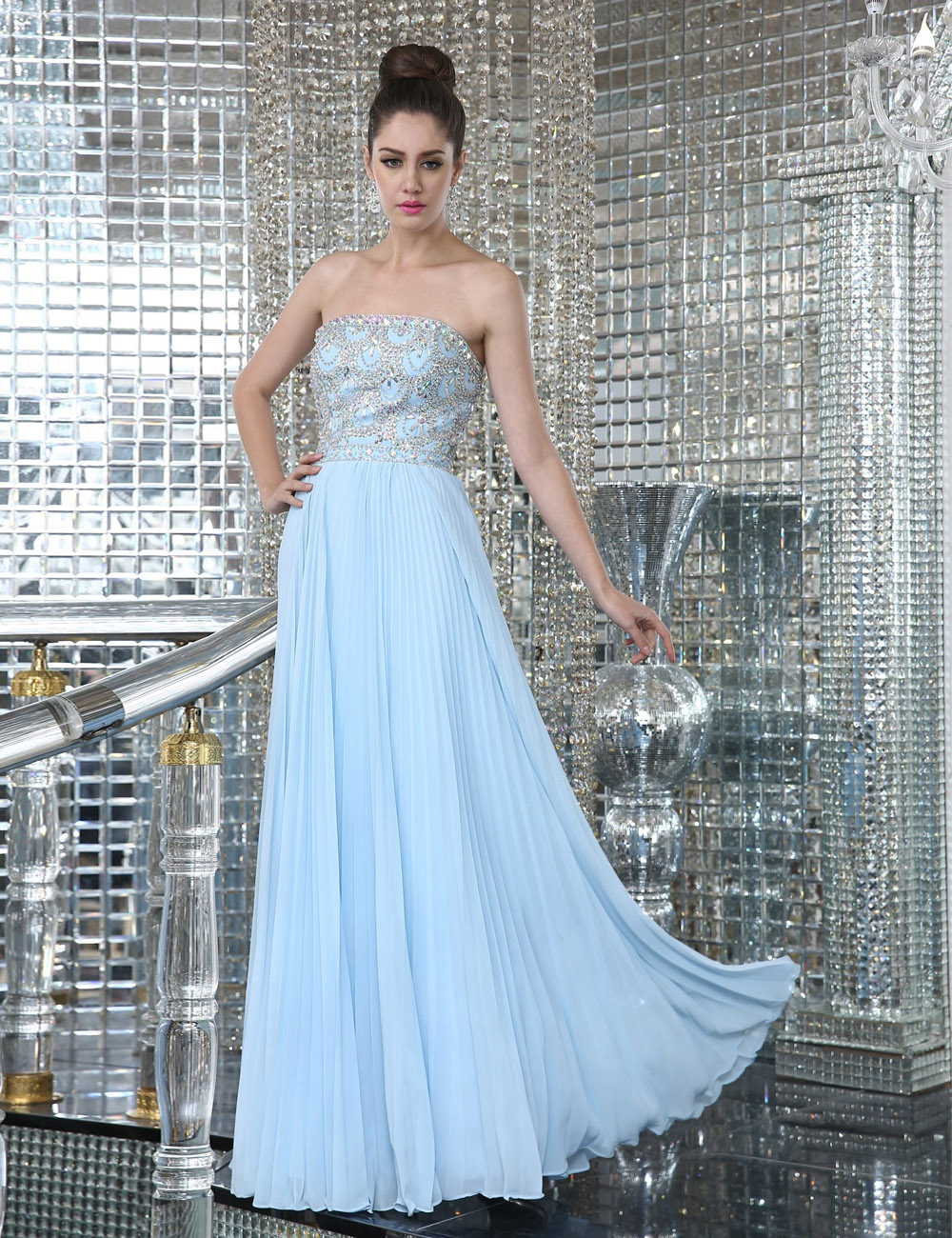 Princess Strapless Knee-length Taffeta Tulle Evening Dress