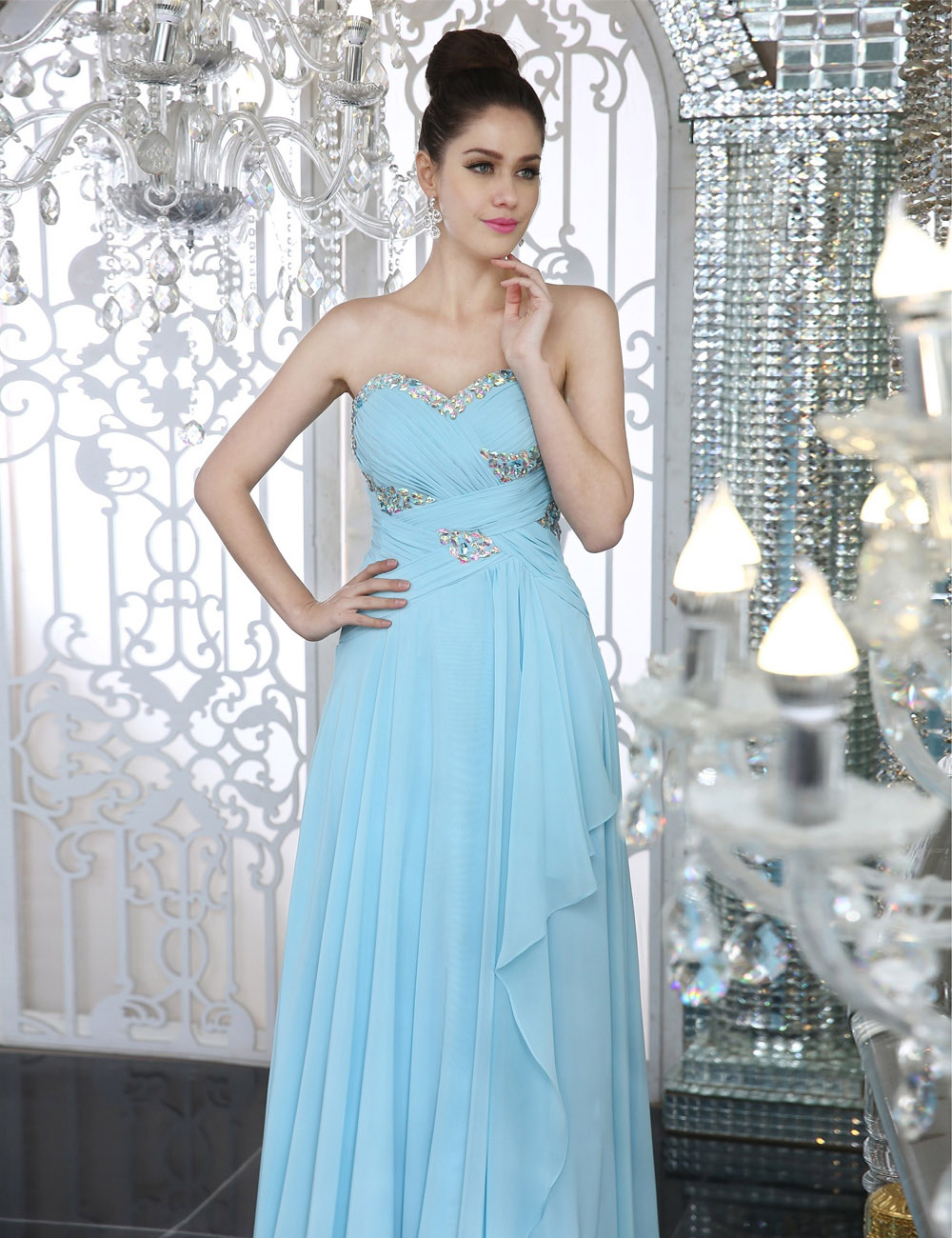 A-line One Shoulder Knee-length Chiffon Prom Dress