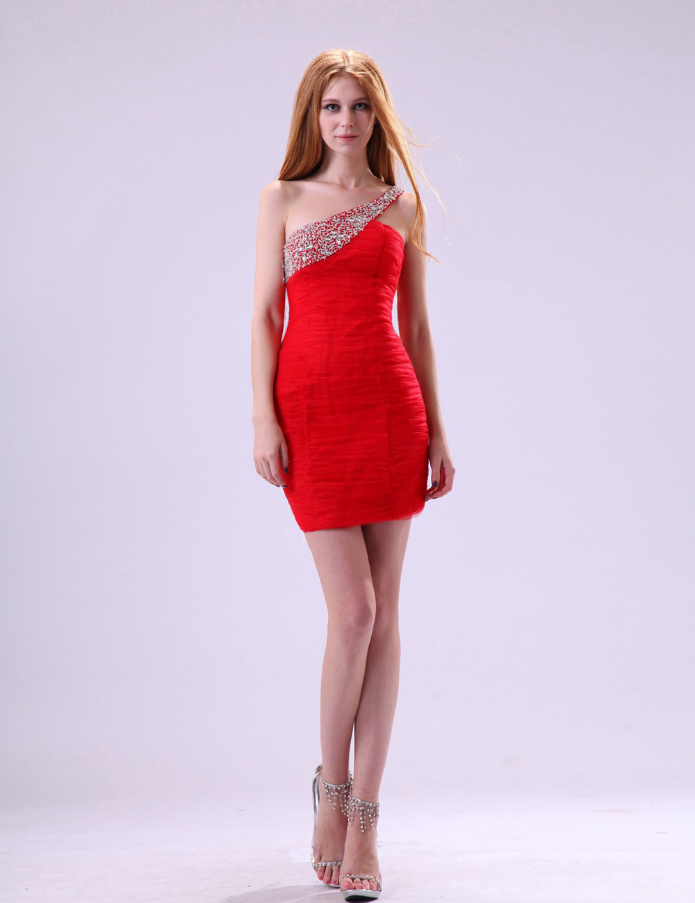 A-line Strapless Knee-length Taffeta Tulle Homecoming Dress