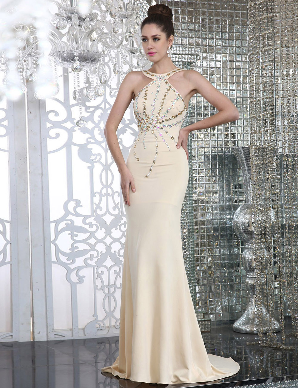 A-line Bateau Knee-length Satin Evening Dress