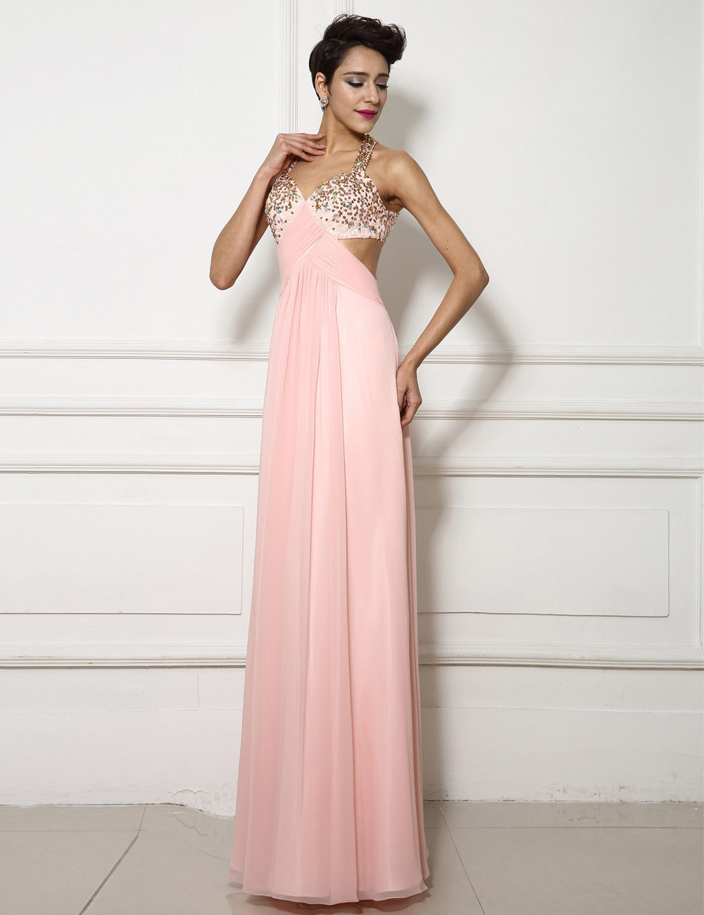 Sheath/Column V-neck Sweep/Brush Train Chiffon Prom Dress