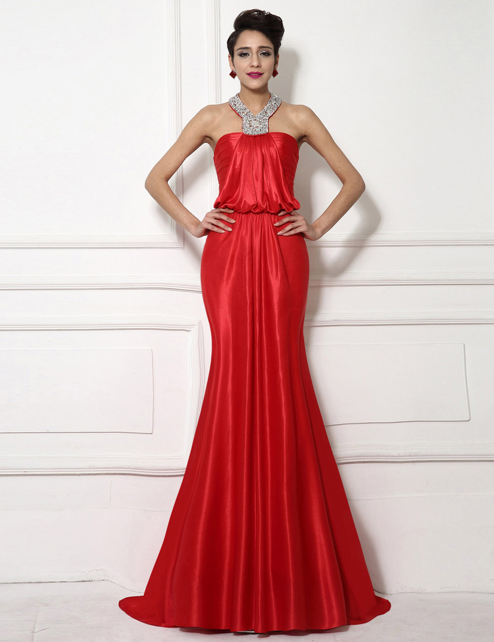 Sheath/Column High Neck Sweep/Brush Train Chiffon Evening Dress