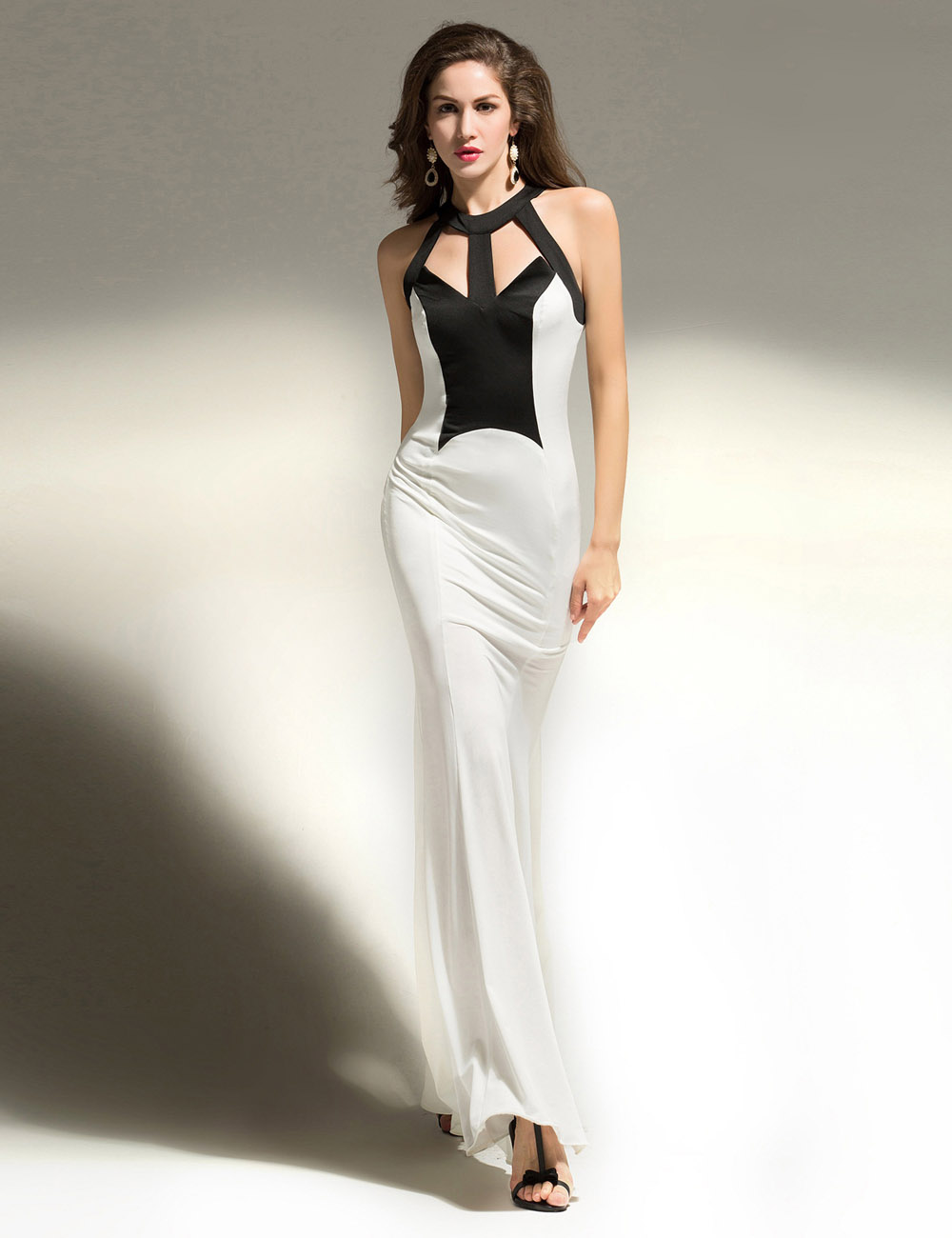 A-line Halter Floor-length Chiffon Prom Dress