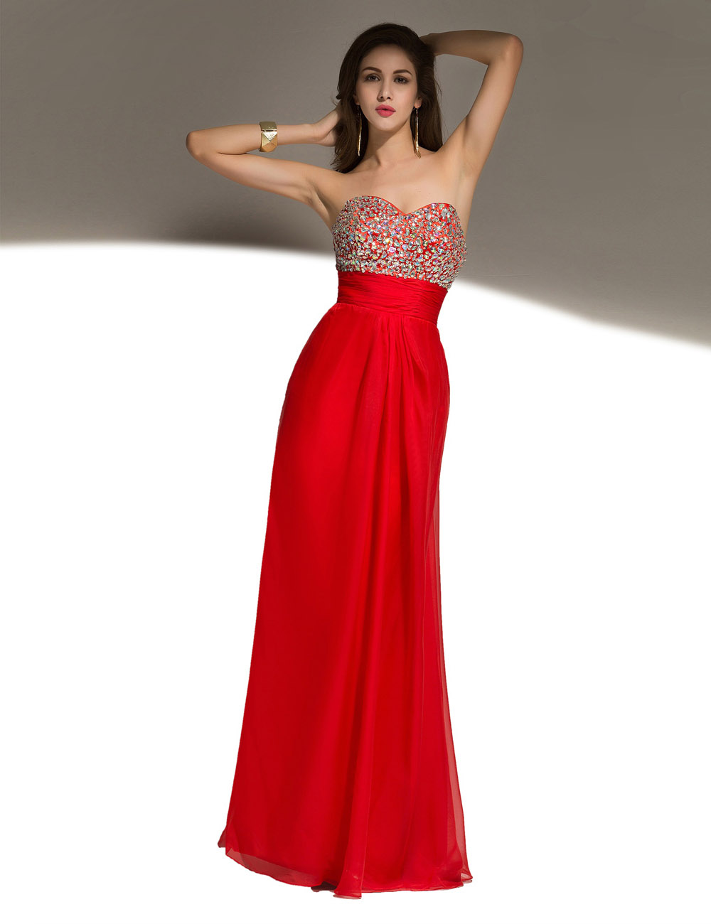 A-line Scoop Floor-length Organza Prom Dress