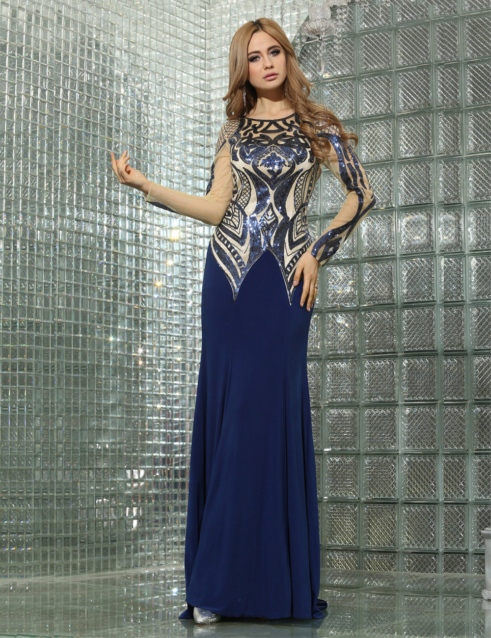 A-line Jewel Sweep/Brush Train Chiffon Prom Dress