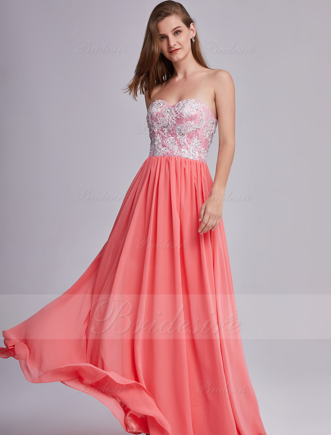 A-line Sweetheart Floor Lenght Lace Chiffon Evening Dress