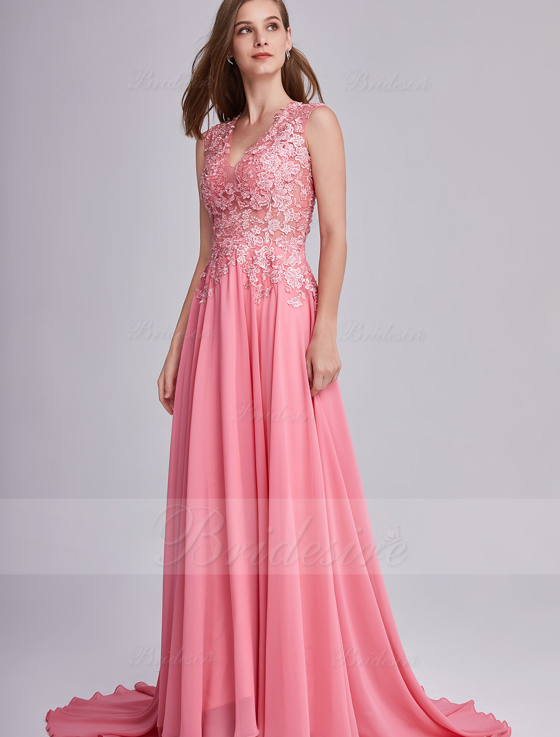 A-line V-neck Sleeveless Chiffon Evening Dress