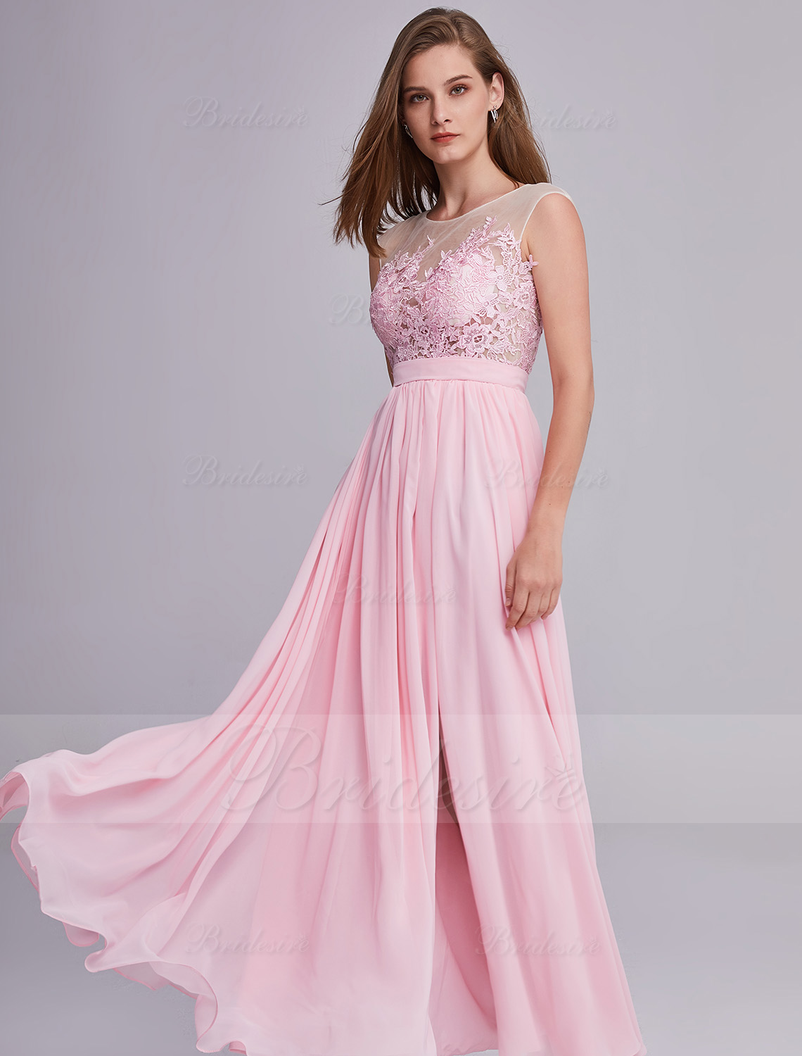 A-line Scoop Sleeveless Chiffon Bridesmaid Dress