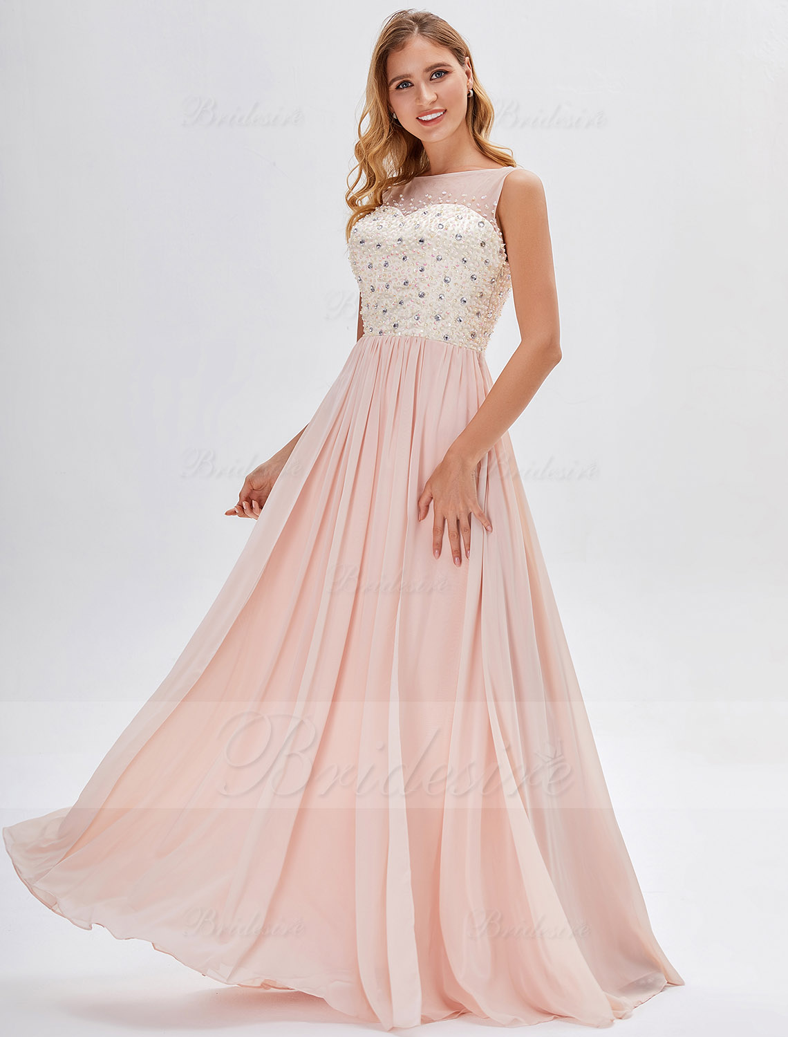 A-line High Neck Floor-length Chiffon Tulle Evening Dress