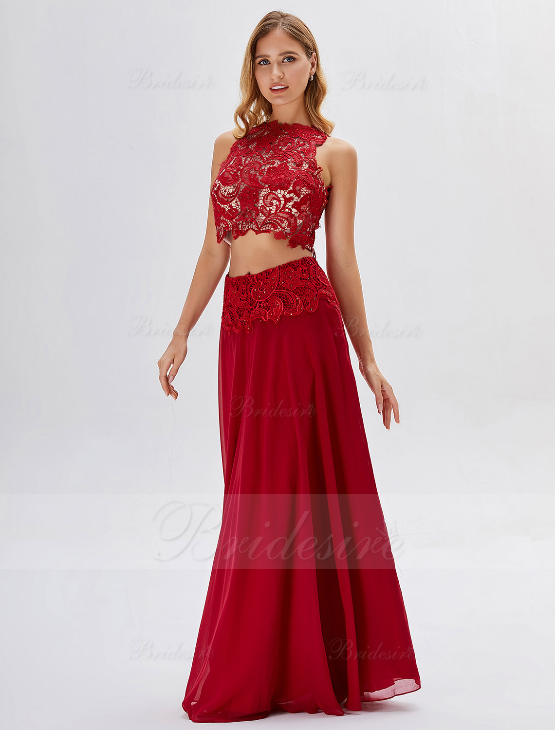 A-line High Neck Floor-length Prom Dress