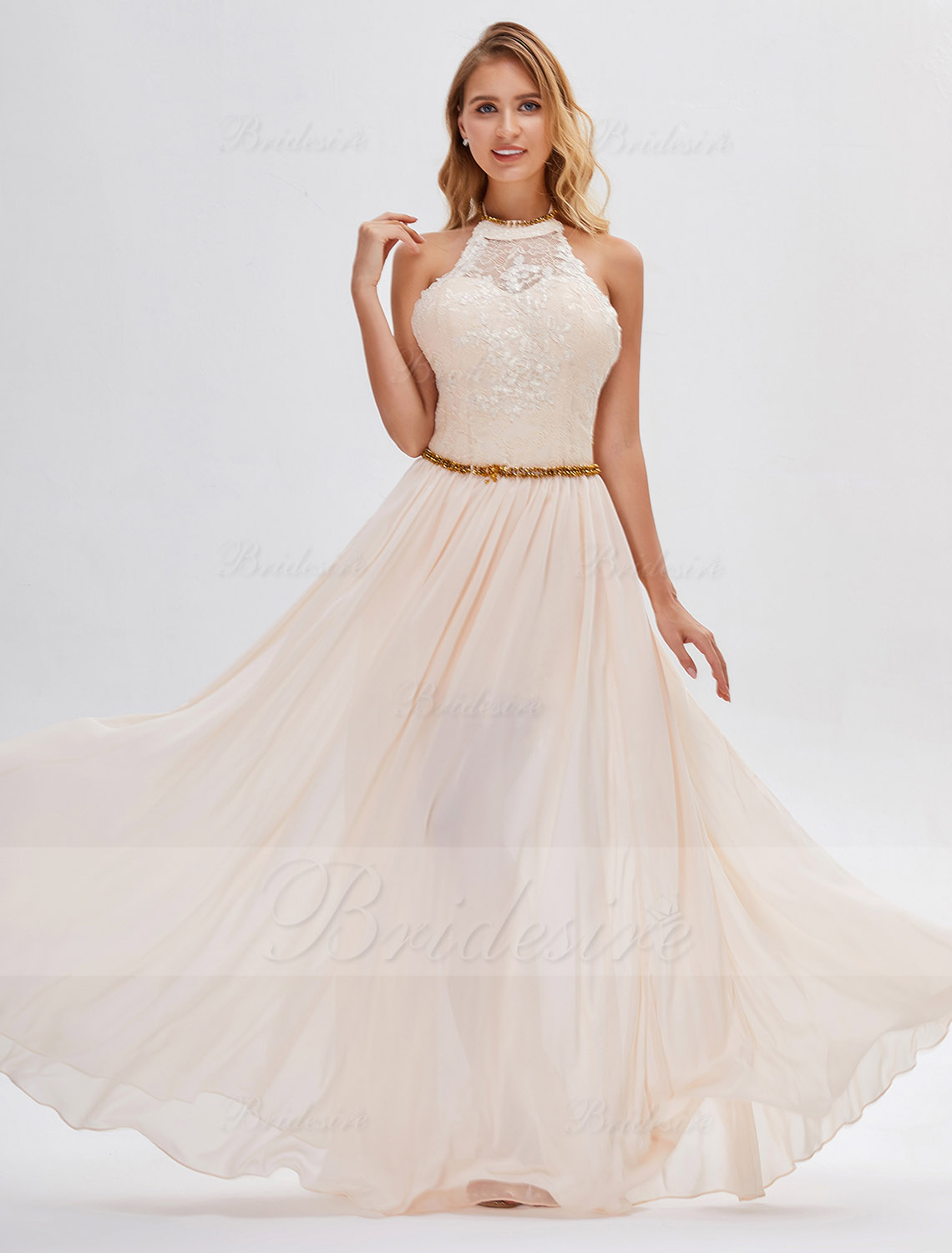 A-line Halter Sleeveless Chiffon Evening Dress
